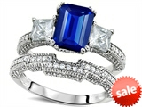 Original Star K™ Emerald Cut 8x6mm Created Sapphire Engagement Wedding Set style: 307722