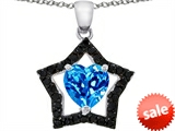 Original Star K™ 8mm Heart Shape Simulated Blue Topaz Black Star Pendant