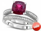 Original Star K™ Cushion Cut 7mm Created Ruby Engagement Wedding Set style: 307726