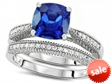 Original Star K™ Cushion Cut 7mm Created Sapphire Engagement Wedding Set style: 307727
