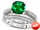 Original Star K™ Cushion Cut 7mm Simulated Emerald Engagement Wedding Set style: 307728