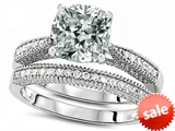 Original Star K™ Cushion Cut 7mm Genuine White Topaz Engagement Wedding Set style: 307729