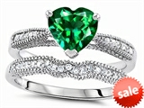 Original Star K™ Heart Shape 7mm Simulated Emerald Engagement Wedding Set style: 307730