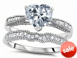 Original Star K™ Heart Shape 7mm Genuine White Topaz Engagement Wedding Set style: 307731