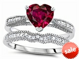 Original Star K™ Heart Shape 7mm Created Ruby Engagement Wedding Set style: 307732