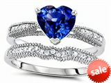 Original Star K™ Heart Shape 7mm Created Sapphire Engagement Wedding Set style: 307733