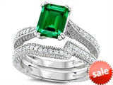 Original Star K™ Emerald Cut 8x6mm Simulated Emerald Engagement Wedding Set style: 307734