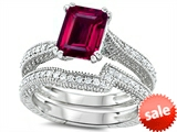 Original Star K™ Emerald Cut 8x6mm Created Ruby Engagement Wedding Set style: 307735