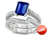 Original Star K™ Emerald Cut 8x6mm Created Sapphire Engagement Wedding Set style: 307736