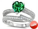 Original Star K™ Heart Shape 7mm Simulated Emerald Engagement Wedding Set