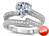 Original Star K™ Heart Shape 7mm Genuine White Topaz Engagement Wedding Set style: 307739