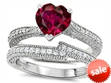 Original Star K™ Heart Shape 7mm Created Ruby Engagement Wedding Set style: 307740