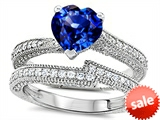 Original Star K™ Heart Shape 7mm Created Sapphire Engagement Wedding Set style: 307741