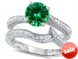 Original Star K™ Round 7mm Simulated Emerald Engagement Wedding Set style: 307742