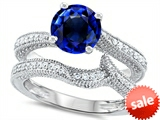 Original Star K™ Round 7mm Created Sapphire Engagement Wedding Set style: 307744