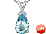 Tommaso Design™ Pear Shape 10x7mm Simulated Aquamarine and Genuine Diamond Pendant
