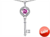 Tommaso Design™ Key to my Heart Clover Key Pendant with Round Created Pink Sapphire and Genuine Diamonds