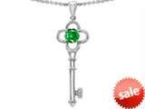 Tommaso Design™ Key to my Heart Clover Pendant with Simulated Emerald and Diamond