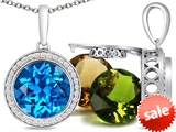 Switch-It Gems™ Round 10mm Simulated Blue Topaz Pendant with 12 Interchangeable Simulated Birthstones style: 307767