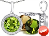 Switch-It Gems™ Round 10mm Simulated Peridot Pendant with 12 Interchangeable Simulated Birthstones style: 307772