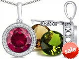 Switch-It Gems™ Round 10mm Simulated Ruby Pendant with 12 Interchangeable Simulated Birthstones