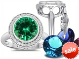 Switch-It Gems™ Round 10mm Simulated Emerald Ring with 12 Interchangeable Simulated Birthstones style: 307783