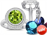 Switch-It Gems™ Round 10mm Simulated Peridot Ring with 12 Interchangeable Simulated Birthstones
