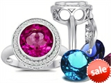 Switch-It Gems™ Round 10mm Simulated Pink Tourmaline Ring 12 Interchangeable Simulated Birthstones style: 307786