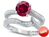 Original Star K™ Round 7mm Created Ruby Engagement Wedding Set