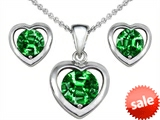Original Star K™ Round Simulated Emerald Heart Earrings with Box Set matching Pendant