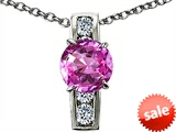 Original Star K™ Round 7mm Created Pink Sapphire Pendant style: 307789