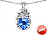 Original Star K™ Loving Mother Twins Family Pendant With 8mm Heart Shape Genuine Blue Topaz style: 307790