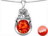 Original Star K™ Large Loving Mother And Family Pendant With Round 10mm Simulated Orange Mexican Fire Opal style: 307791