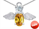 Original Star K™ Angel Of Love Protection Pendant With Oval 8x6mm Genuine Citrine