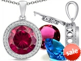 Switch-It Gems™ Round 12mm Simulated Ruby Pendant with 12 Interchangeable Simulated Birthstones
