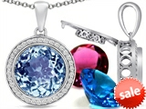 Switch-It Gems™ Round 12mm Simulated Aquamarine Pendant with 12 Interchangeable Simulated Birthstones style: 307799