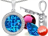 Switch-It Gems™ Round 12mm Simulated Blue Topaz Pendant with 12 Interchangeable Simulated Birthstones style: 307800