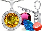 Switch-It Gems™ Round 12mm Simulated Citrine Pendant with 12 Interchangeable Simulated Birthstones