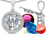 Switch-It Gems™ Round 12mm Simulated Diamond Pendant with 12 Interchangeable Simulated Birthstones