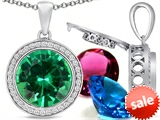 Switch-It Gems™ Round 12mm Simulated Emerald Pendant with 12 Interchangeable Simulated Birthstones style: 307803