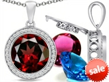 Switch-It Gems™ Round 12mm Simulated Garnet Pendant with 12 Interchangeable Simulated Birthstones