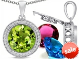 Switch-It Gems™ Round 12mm Simulated Peridot Pendant with 12 Interchangeable Simulated Birthstones style: 307805