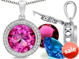 Switch-It Gems™ Round 12mm Simulated Pink Tourmaline Pendant with 12 Interchangeable Simulated Birthstones style: 307806