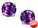 Original Star K™ 7mm Round Genuine Amethyst Earrings Studs style: 307809