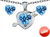 Original Star K™ 8mm Simulated Blue Topaz Heart With Arrow Pendant With Matching Earrings style: 307811