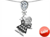 Original Star K™ Little Girl Holding a Balloon Mother Birthstone 9x7mm Pear Shape Genuine White Topaz Pendant