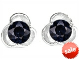 Original Star K™ Round Simulated Black Onyx Flower Earring Studs