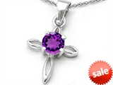 Original Star K™ Round Genuine Amethyst Cross Pendant style: 307815