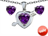 Original Star K™ 8mm Genuine Amethyst Heart With Arrow Pendant Box Set with Matching Earrings