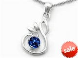 Original Star K™ Round Created Sapphire Swan Pendant style: 307818
